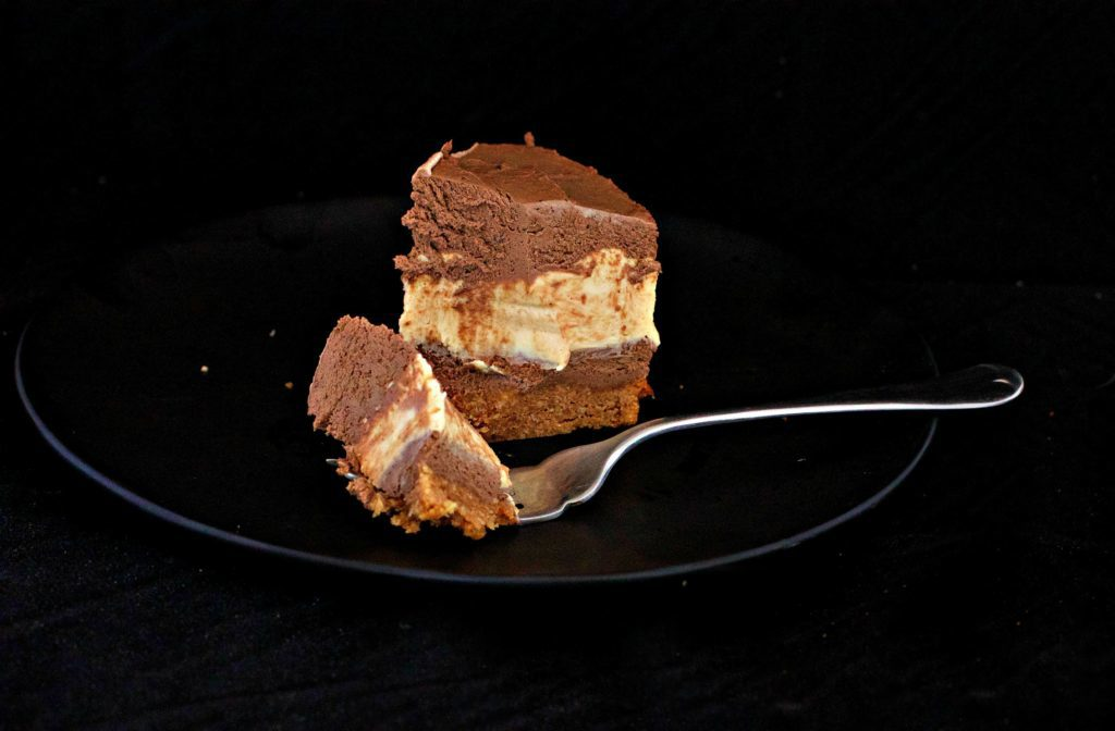 LCHF Reese's Pieces Style Peanut Butter Layer Cheesecake