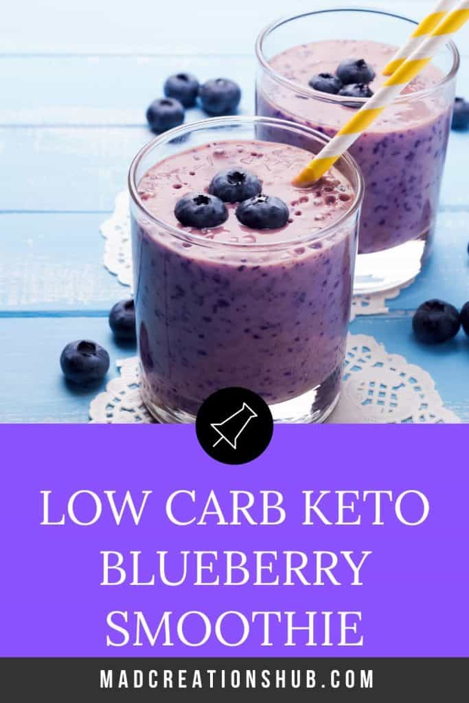 Keto Blueberry Almond Smoothie in 2 glasses topped with blueberries