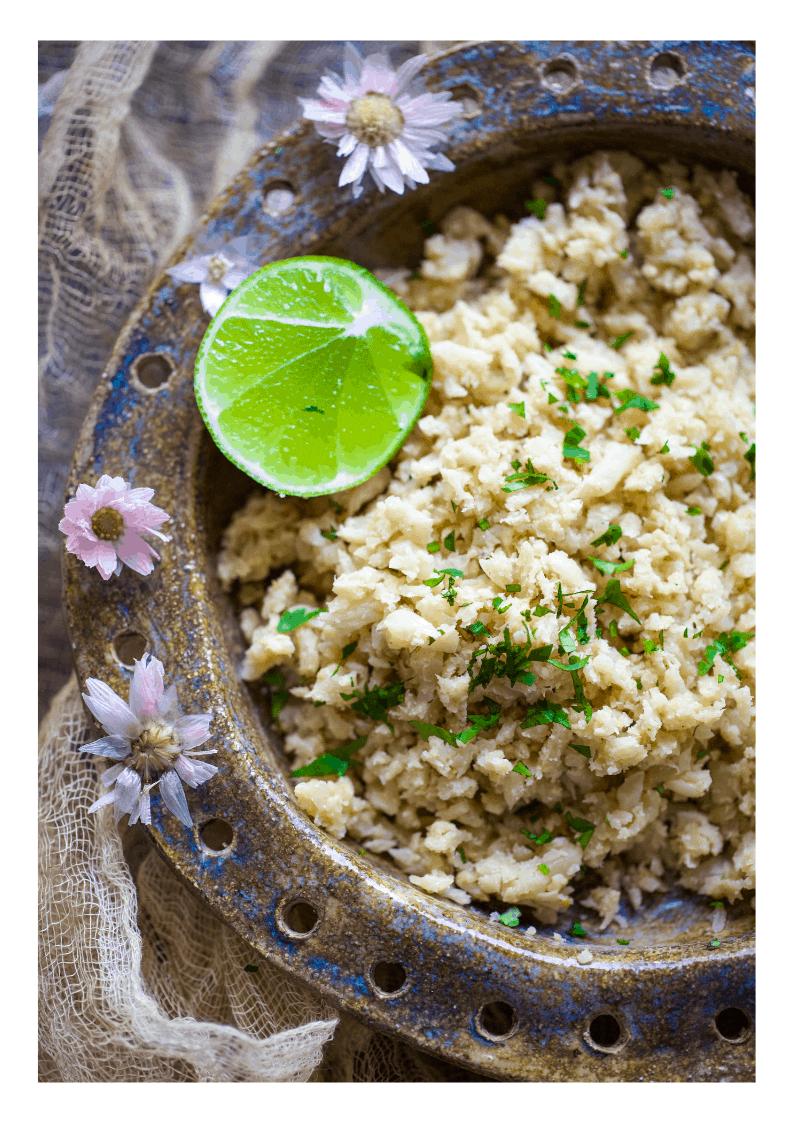 keto cauliflower bun rice in a bowl