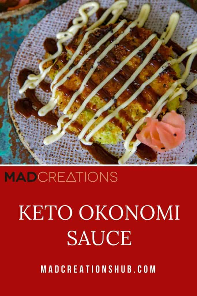 Keto Okonomi Sauce on okonomiyaki with ginger