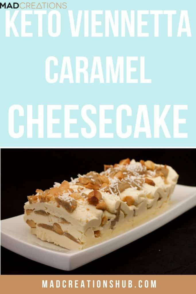 cheesecake with caramel and macadamia on a black background