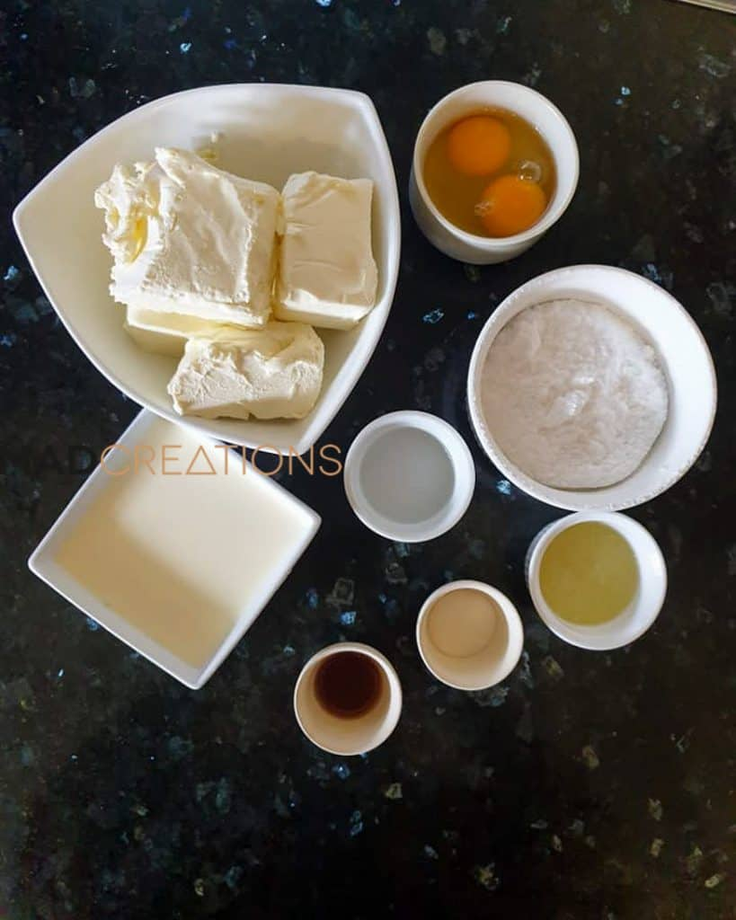 cheesecake filling ingredients on a countertop