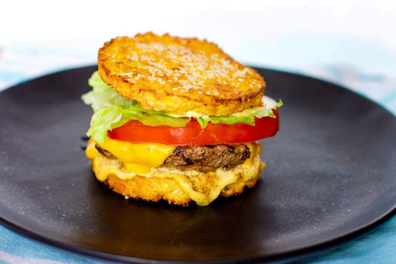 Mad Creations Keto Cauli Clubhouse Burger #ketogenicdiet #glutenfree #grainfree #sugarfree #ketoburger #LCHF