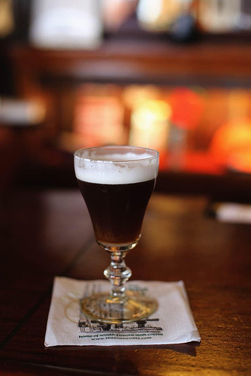 Irish coffee on table