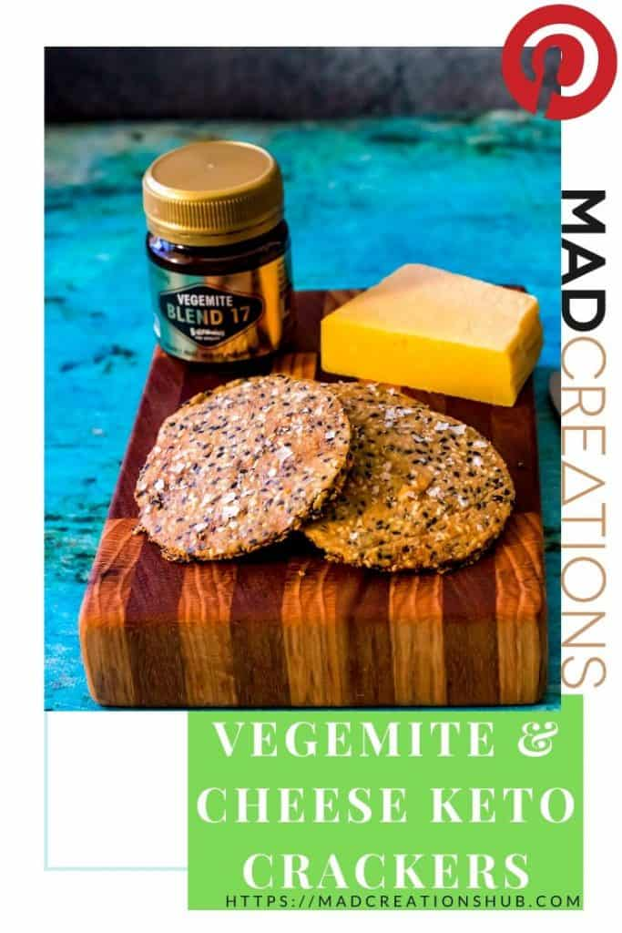 Vegemite and Cheese Keto Crackers on a wood board