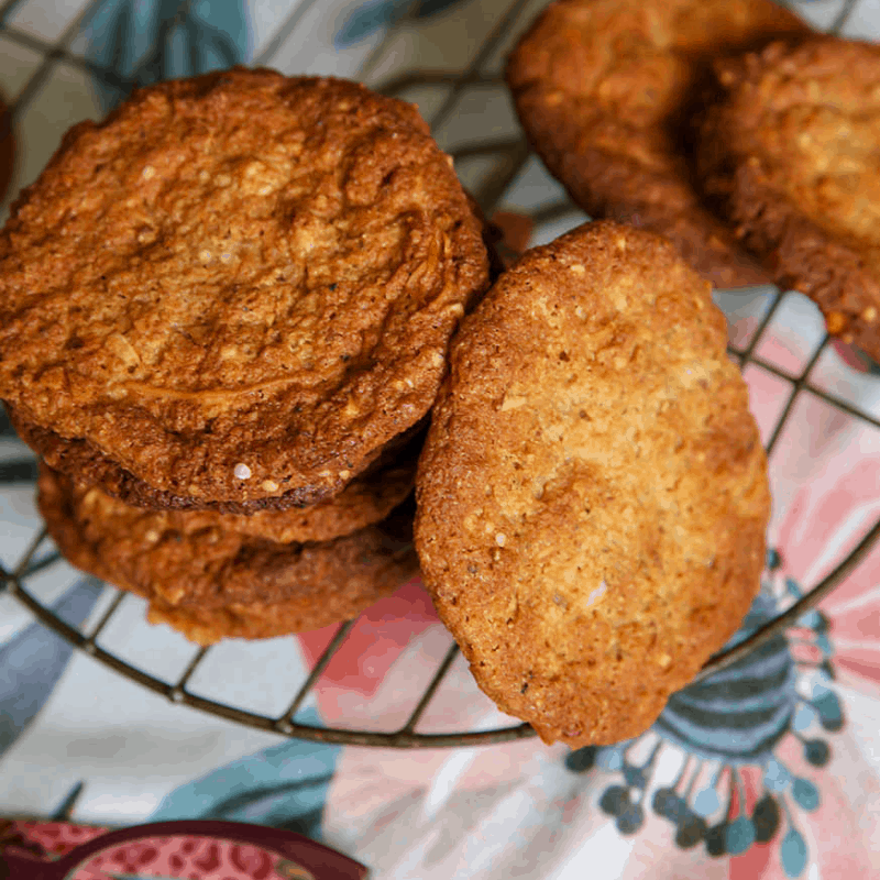 Mad Creations Keto Anzac Bisuits baked on tray