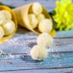 lemon bliss balls in a cone