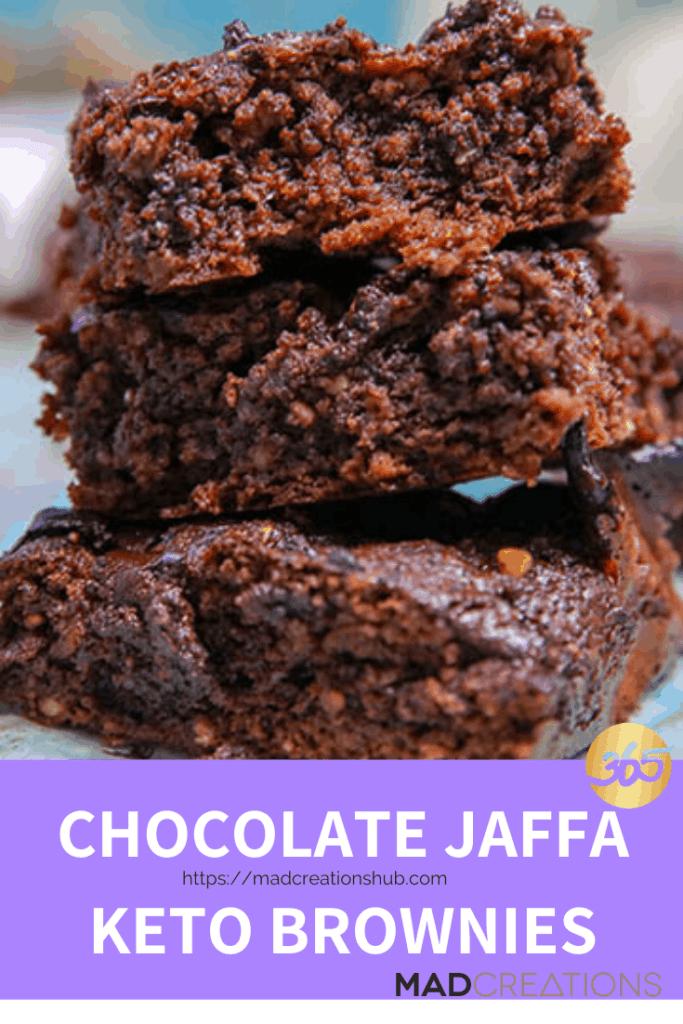 chocolate jaffa keto brownies stacked 3 high