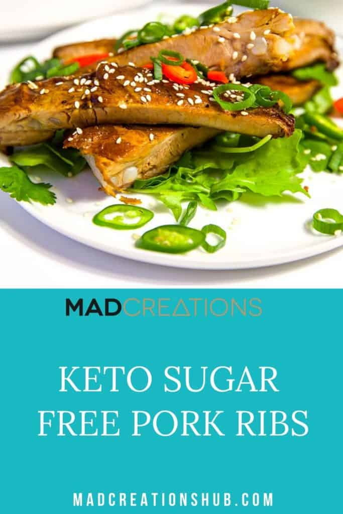 The BEST Keto Sugar Free Pork Ribs Pinterest Banner