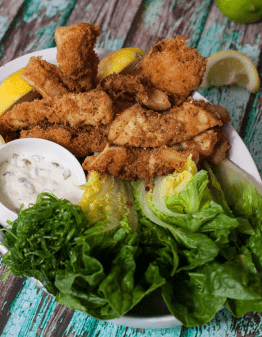 salt and pepper squid on plate with lettuce