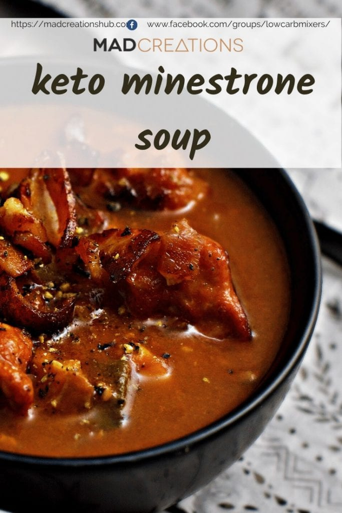 Minestrone soup in a black bowl