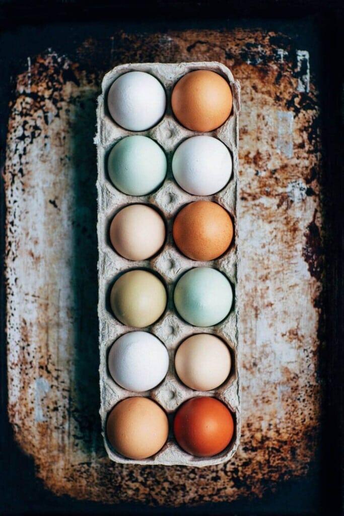 tray of eggs on bakking tray
