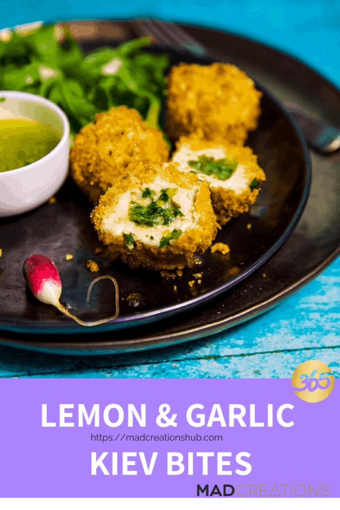 lemon & garlic kiev bites on a black plate
