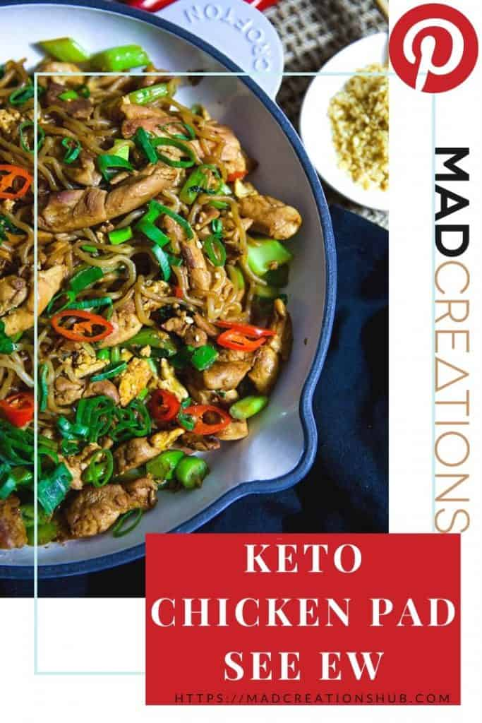 Keto Chicken Pad See Ew in a white pan