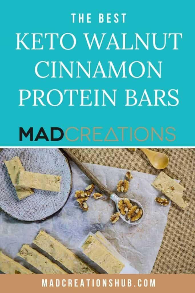 Keto walnut cinnamon protein bars pinterest banner