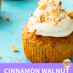 frosted walnut muffin on blue background