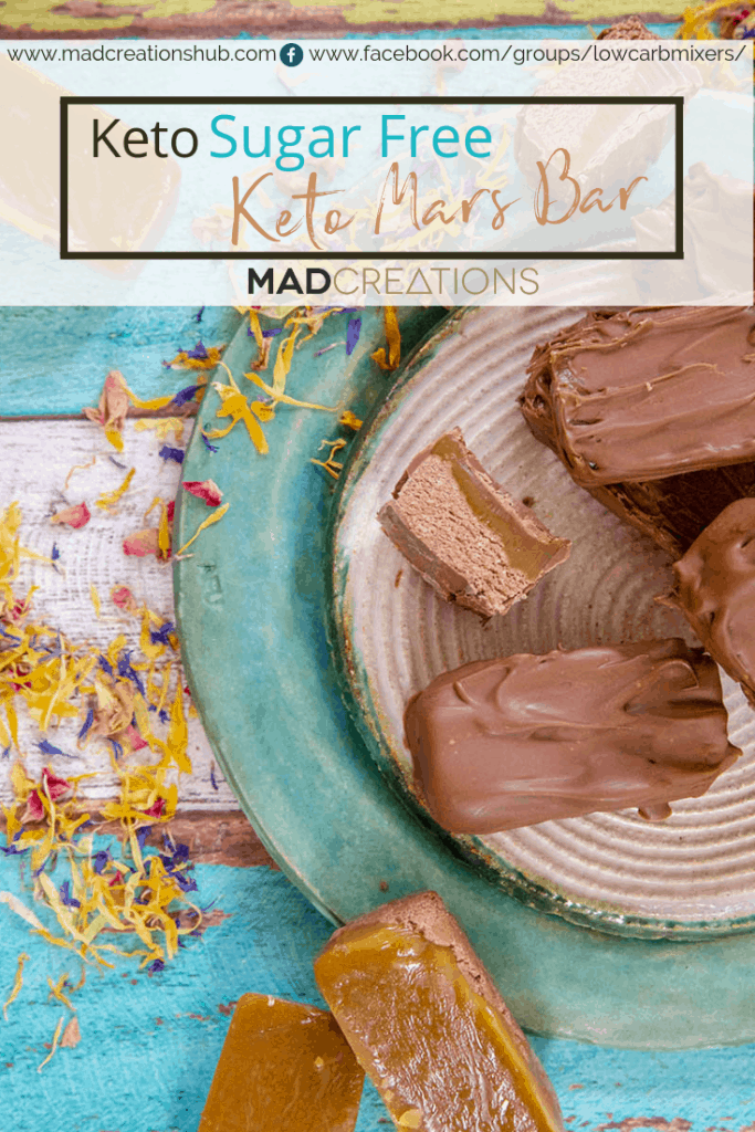 sugar free keto mars bar on green plate