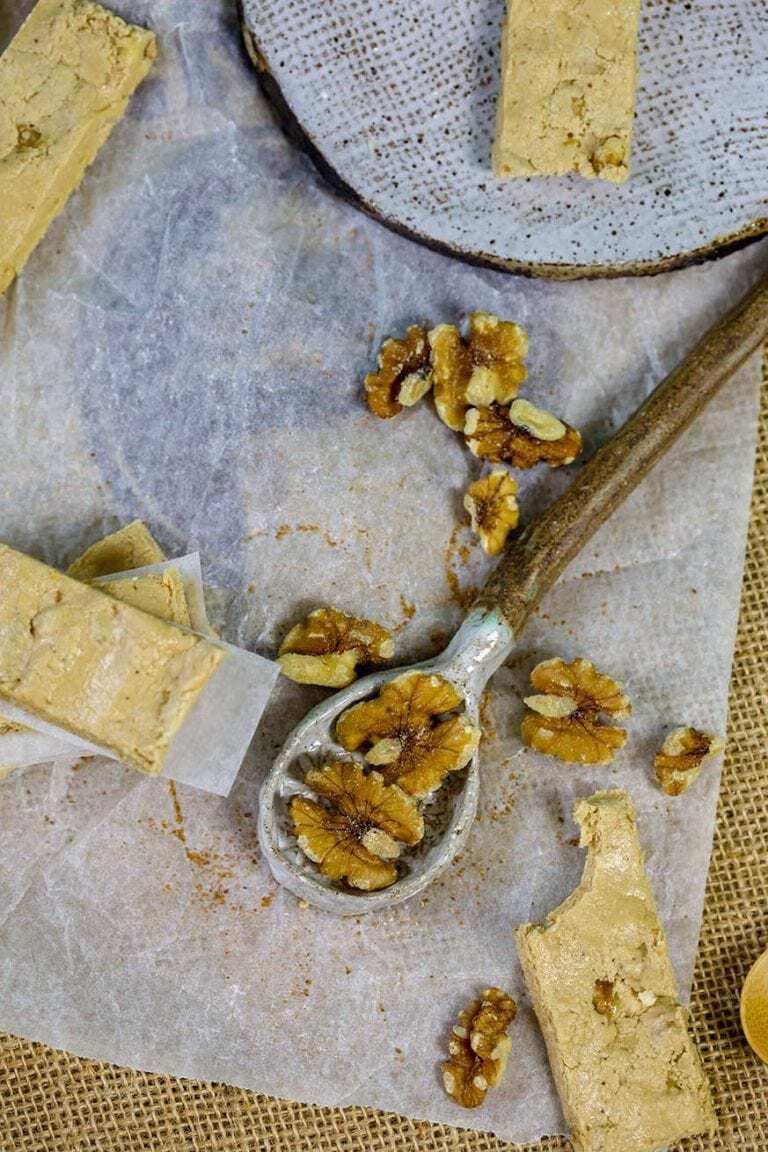 walnuts bars on baking paper