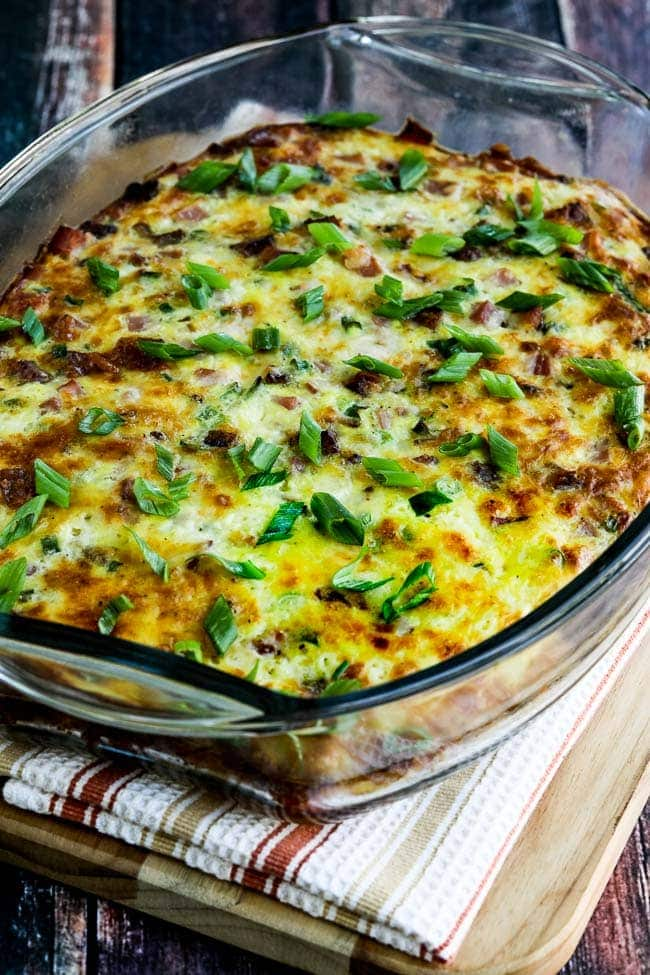 cheese topped casserole in a glass dish