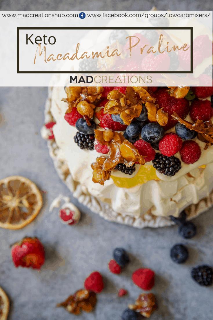 macadamia praline on a pavlova with berries