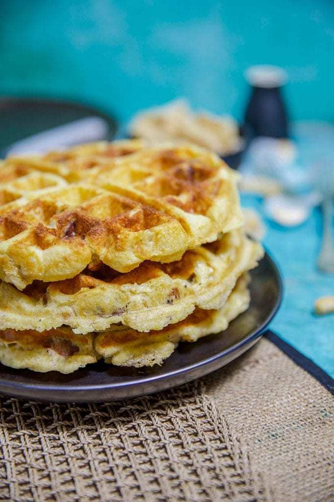 Mad Creations Cheesy Sausage Keto Waffle #keto #ketogenicdiet #ketowaffle