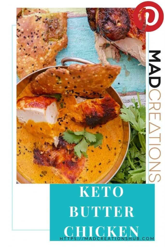 Keto Butter Chicken in a metal bowl