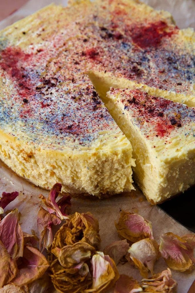 Mad Creations Baked Mascarpone Keto Cheesecake with colourful fruit sparkles