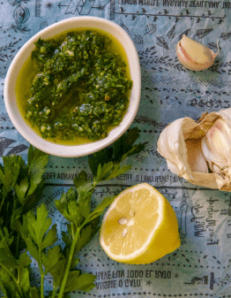 Mad Creations Lemon Gremolata in a white bowl
