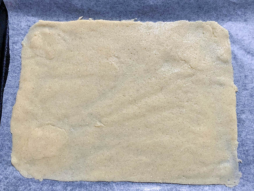 Sugar Free vanilla slice dough spread out