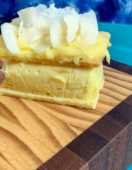 Mad Creations Lemon Curd Keto Sugar Free Vanilla Slice on a cutting board