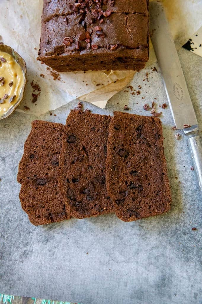 Chocolate cacao bread sliced