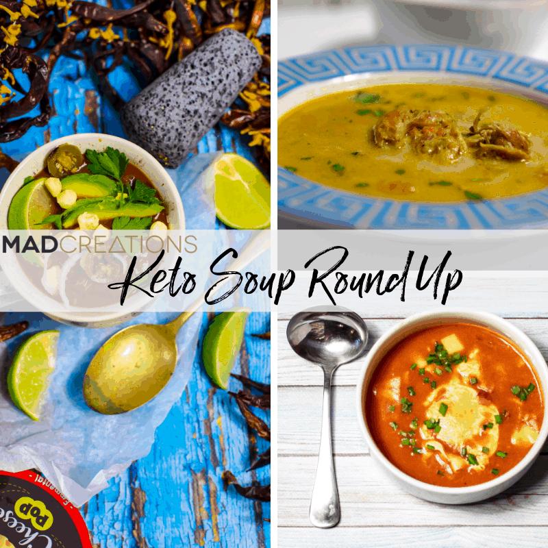Winter keto recipes 3 keto soups in bowls