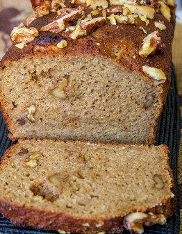 Banana Bread Loaf with one slice cut