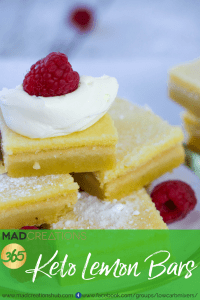 Mad Creations Keto Lemon Bars with green banner