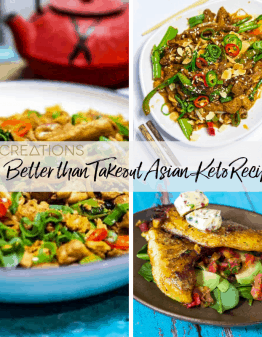 20 better than take out Asian Keto recipes banner of multiple food images