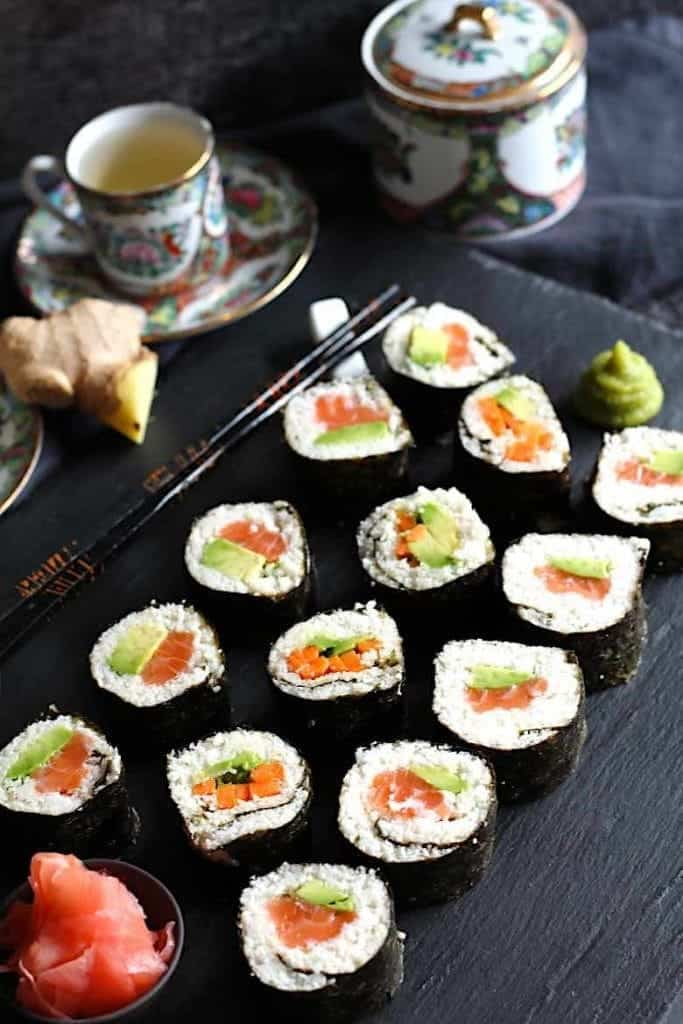 better than take out Asian Keto recipessushi rolls on a black plate