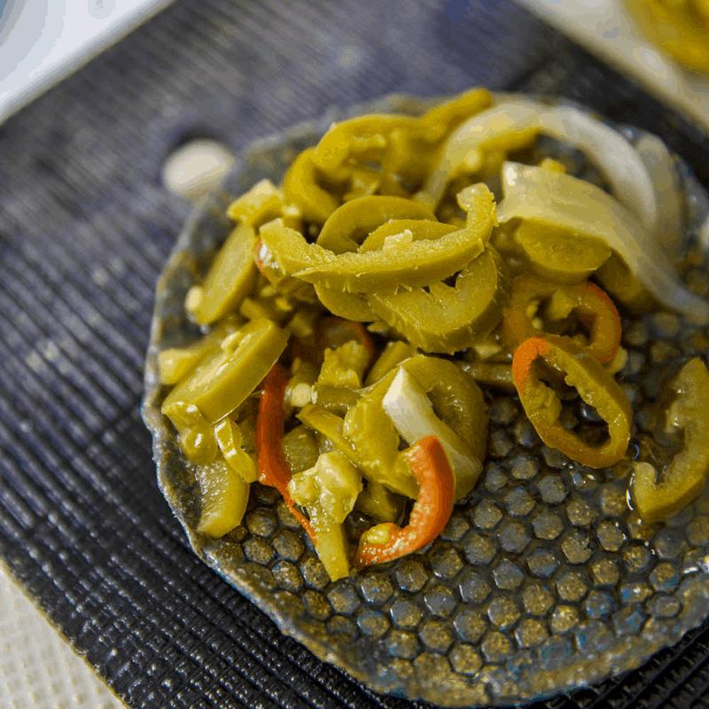 Keto Pickled Jalapenos on plate