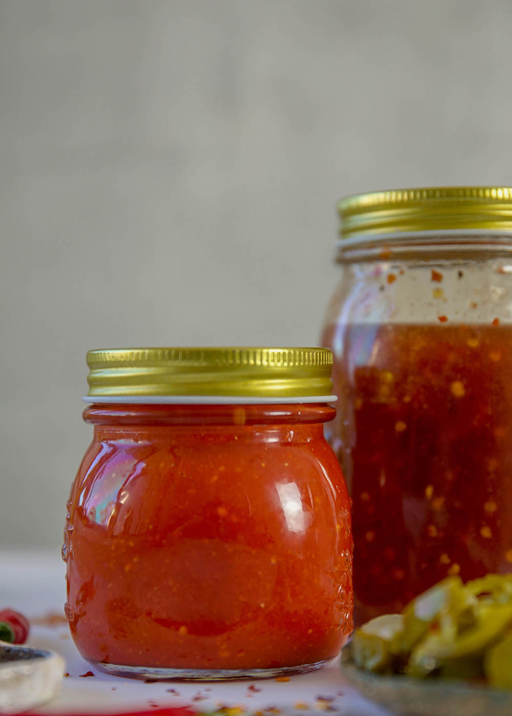 Sweet chilli in jars