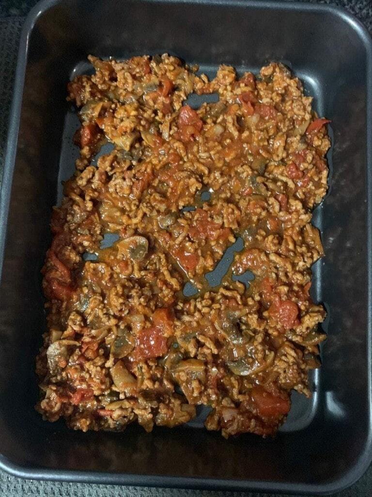 Progress shot of lasagna