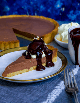 Keto Chocolate Bavarian Pie on a plate