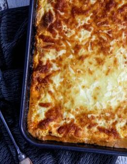Keto Beef Lasagna in a pan