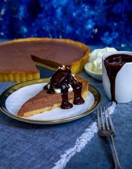 Keto Chocolate Bavarian Pie on a plate