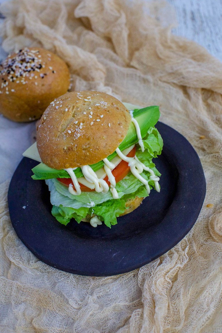 low carb bread roll with salad