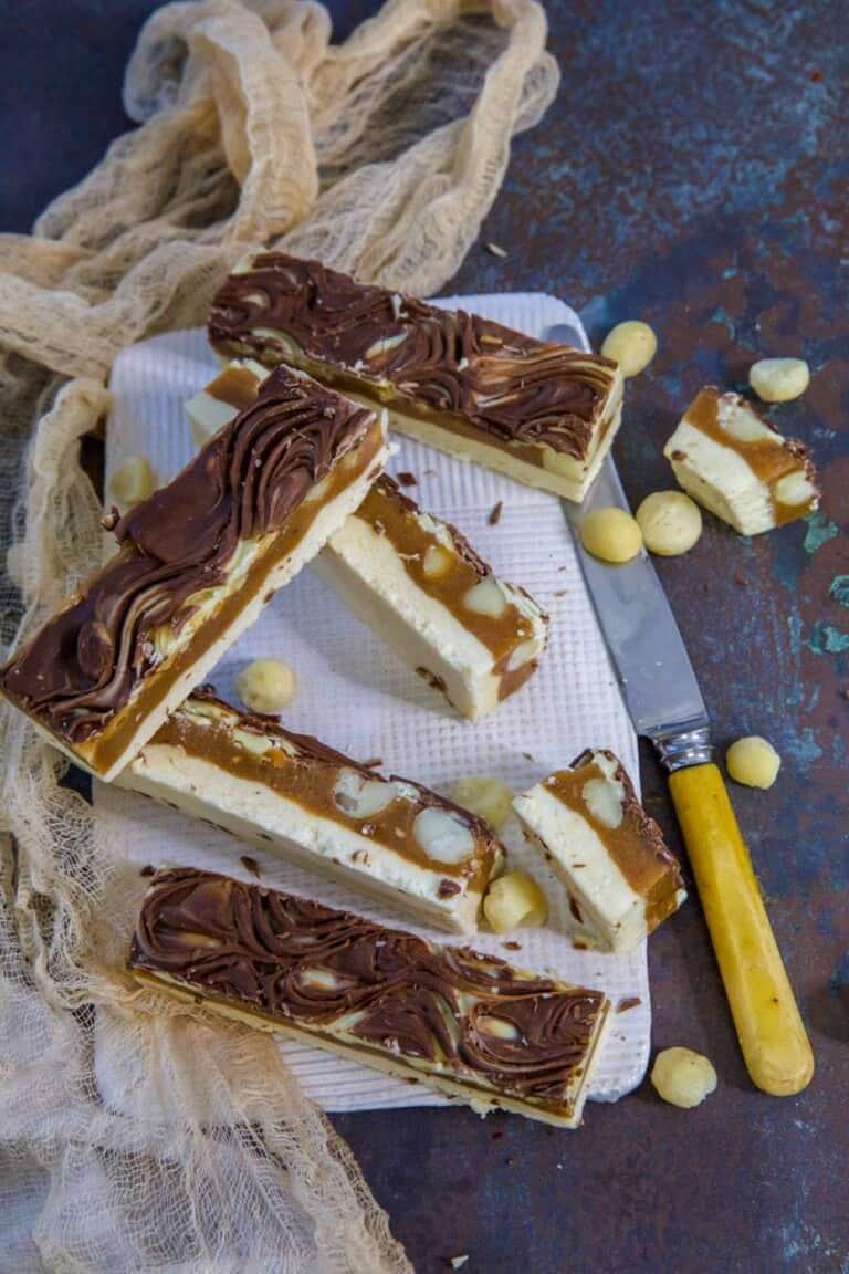 Keto Caramel Nut Chew Bars on a white platter