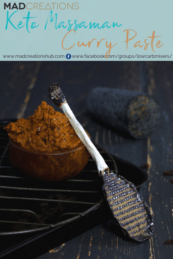 Keto Massaman Curry Paste in a wood bowl
