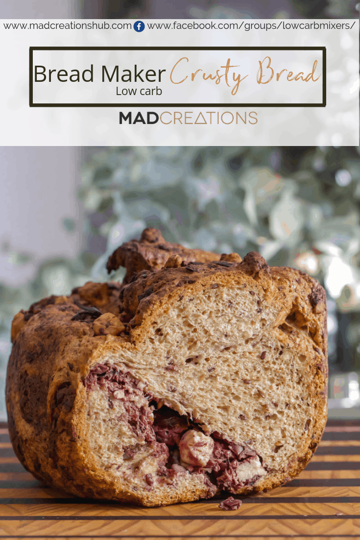 Mad Creations Bread Maker Low Carb Bread on bread board