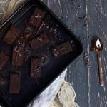 Chocolate fudge in a tray