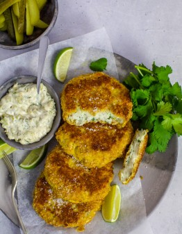 Mad Creations Keto Fish Cakes with tartare sauce on a plate
