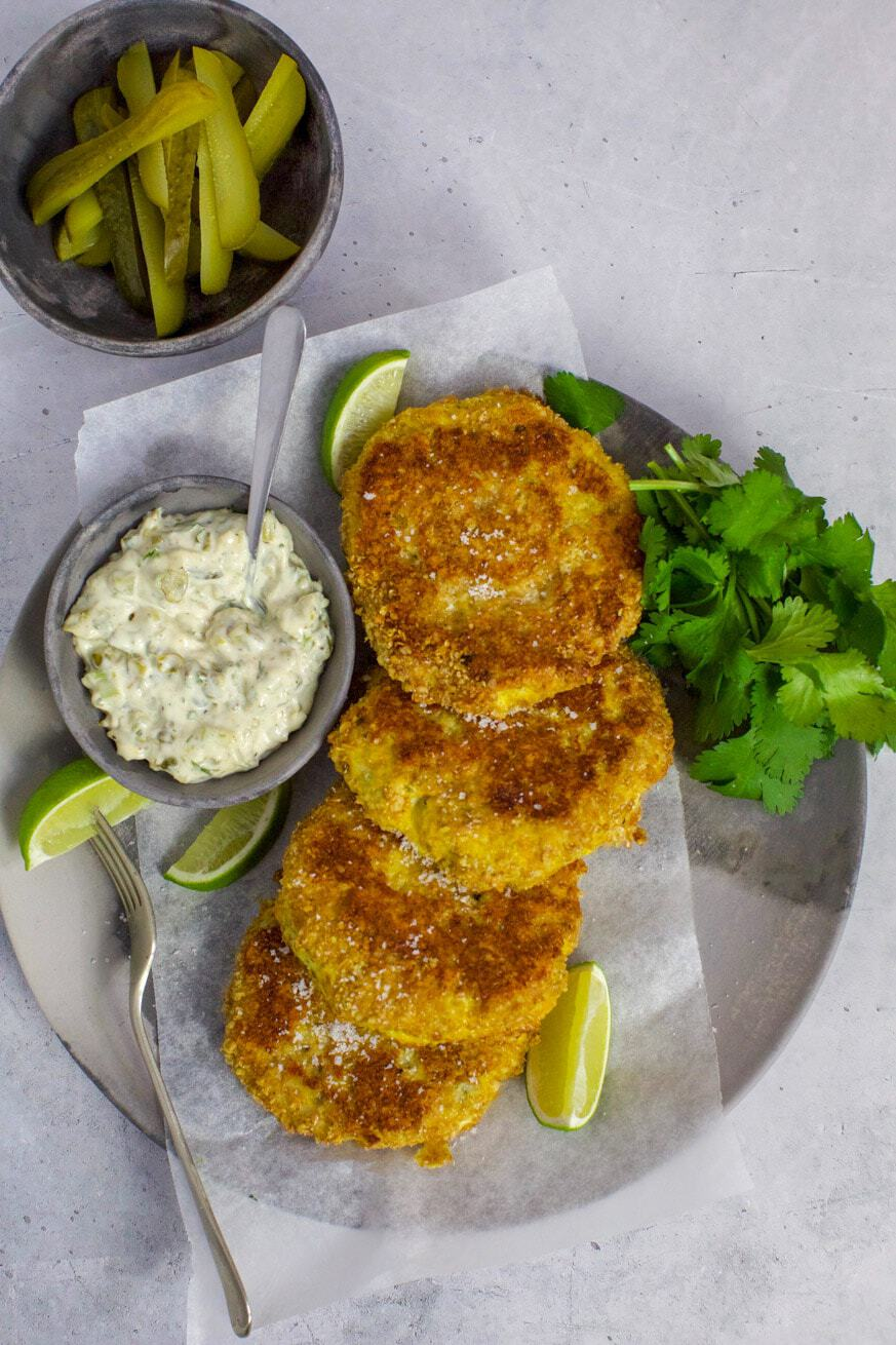 fish cakes on plate with tartare sauce