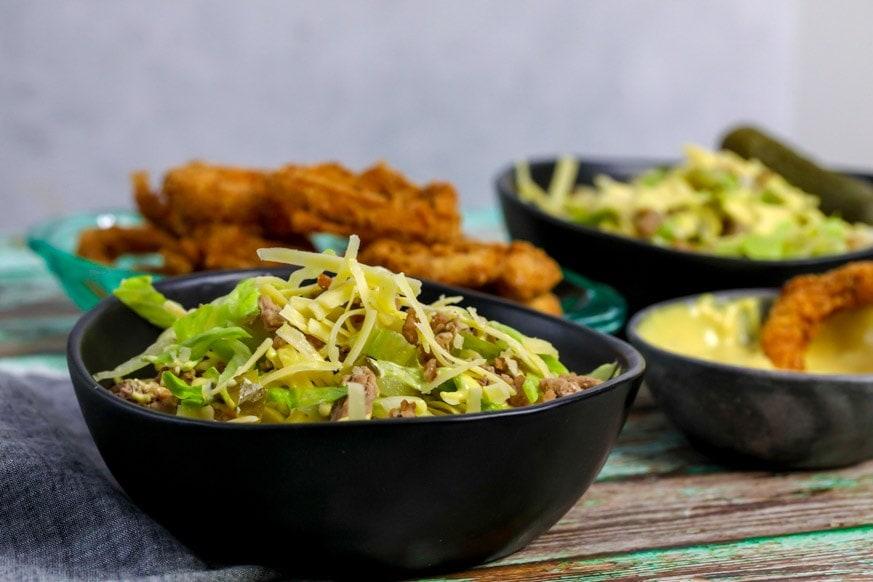 Salad in a black bowl